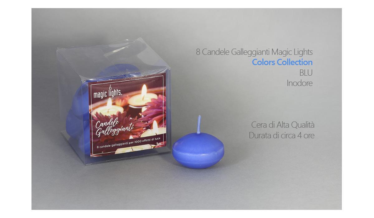 Candele galleggianti magic lights candela galleggiante pz blu